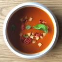 Tomatencremesuppe mit Brotcroûtons